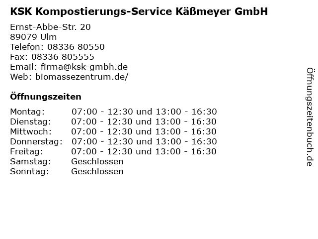 KSK Kompostierungs-Service Käßmeyer GmbH in Ulm: Adresse und Öffnungszeiten