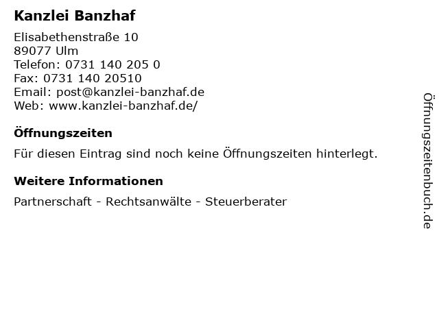 Kanzlei Banzhaf in Ulm: Adresse und Öffnungszeiten