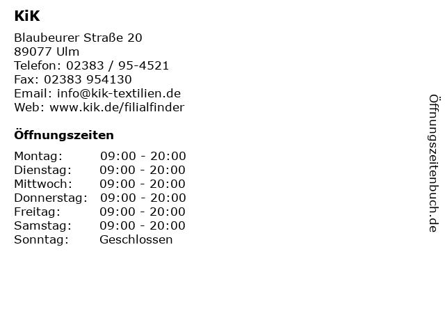 KiK in Ulm: Adresse und Öffnungszeiten