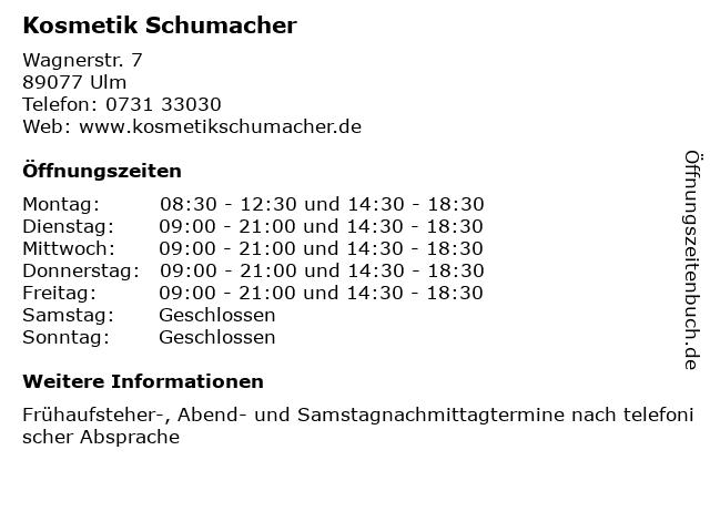 Kosmetik Schumacher in Ulm: Adresse und Öffnungszeiten