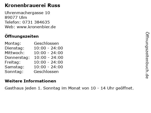 Kronenbrauerei Russ in Ulm: Adresse und Öffnungszeiten