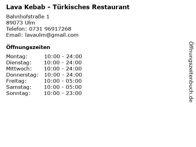 Lava Kebab - Türkisches Restaurant in Ulm: Adresse und Öffnungszeiten