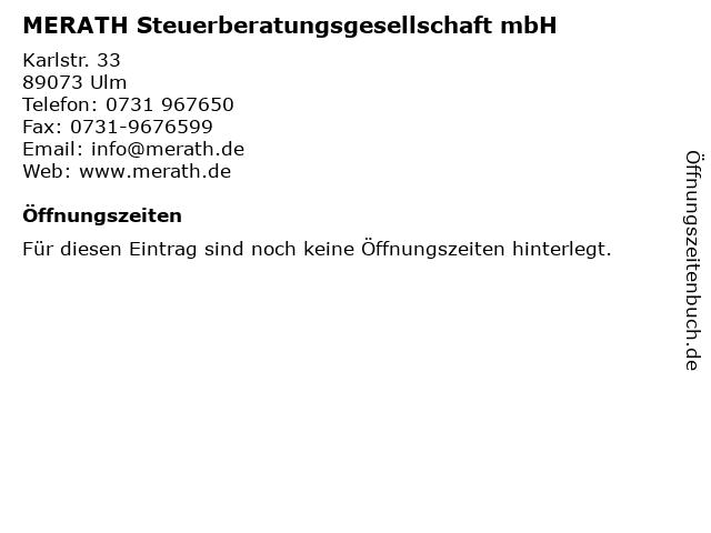 MERATH Steuerberatungsgesellschaft mbH in Ulm: Adresse und Öffnungszeiten
