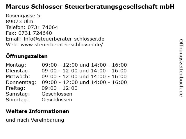 Marcus Schlosser Steuerberatungsgesellschaft mbH in Ulm: Adresse und Öffnungszeiten