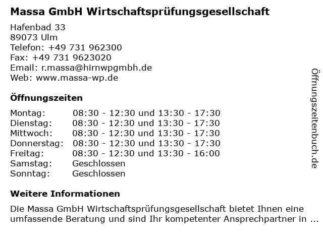 Massa GmbH Wirtschaftsprüfungsgesellschaft in Ulm: Adresse und Öffnungszeiten
