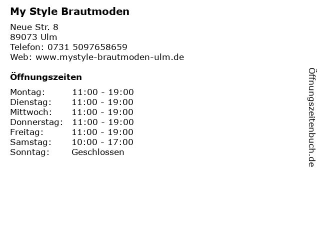 My Style Brautmoden in Ulm: Adresse und Öffnungszeiten