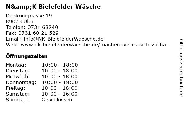 N&K Bielefelder Wäsche in Ulm: Adresse und Öffnungszeiten