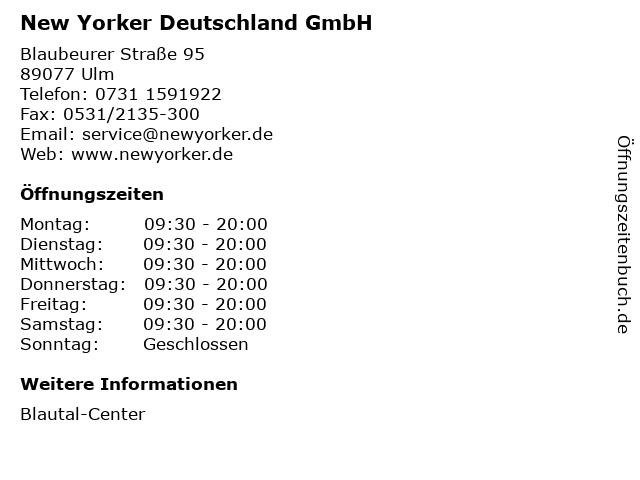 New Yorker Deutschland GmbH in Ulm: Adresse und Öffnungszeiten