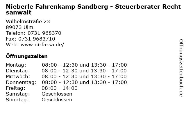 Nieberle Fahrenkamp Sandberg - Steuerberater Rechtsanwalt in Ulm: Adresse und Öffnungszeiten