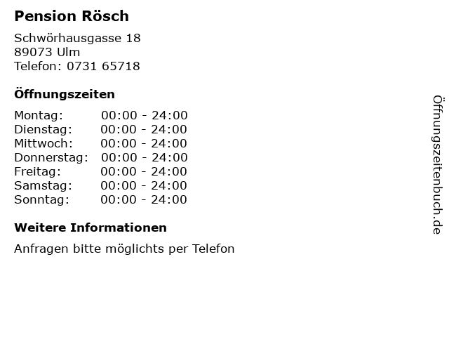 Pension Rösch in Ulm: Adresse und Öffnungszeiten