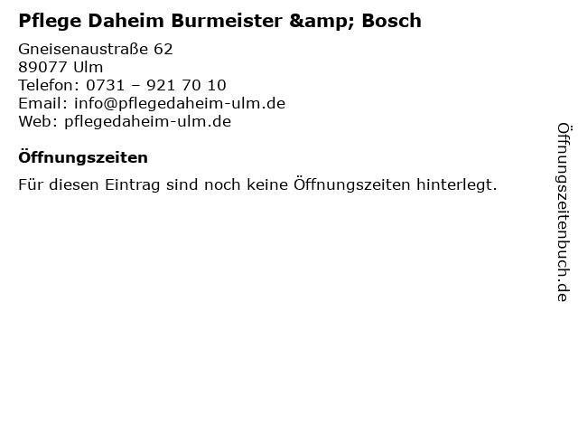 Pflege Daheim Burmeister & Bosch in Ulm: Adresse und Öffnungszeiten