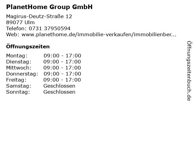 PlanetHome Group GmbH in Ulm: Adresse und Öffnungszeiten