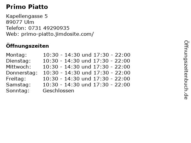 Primo Piatto in Ulm: Adresse und Öffnungszeiten
