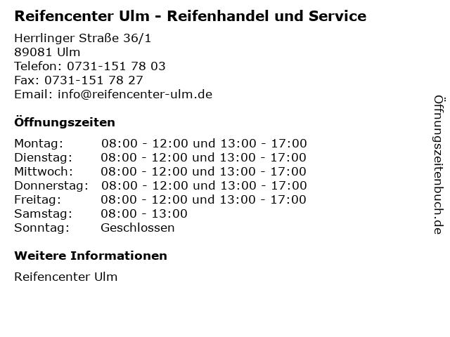 Reifencenter Ulm - Reifenhandel und Service in Ulm: Adresse und Öffnungszeiten