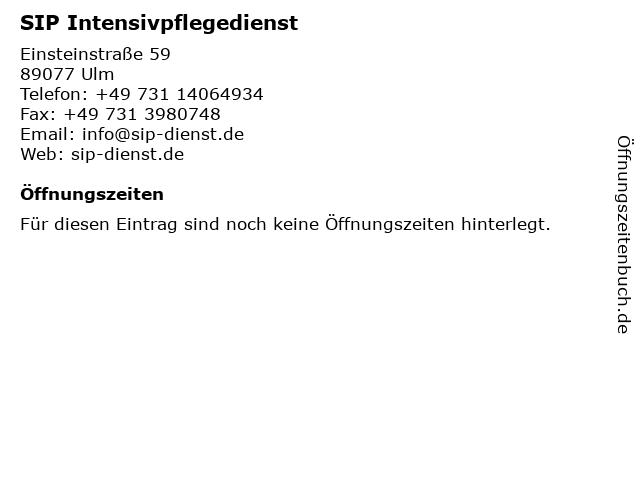 SIP Intensivpflegedienst in Ulm: Adresse und Öffnungszeiten