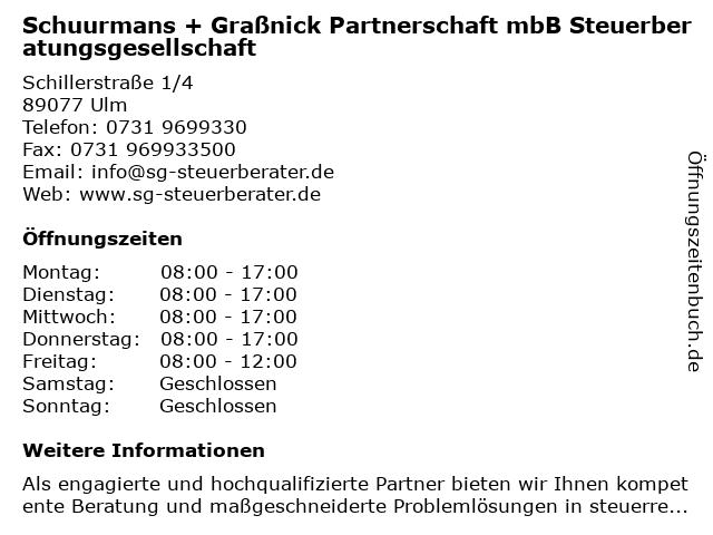 Schuurmans + Graßnick Partnerschaft mbB Steuerberatungsgesellschaft in Ulm: Adresse und Öffnungszeiten