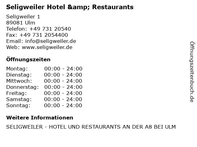 Seligweiler Hotel & Restaurants in Ulm: Adresse und Öffnungszeiten