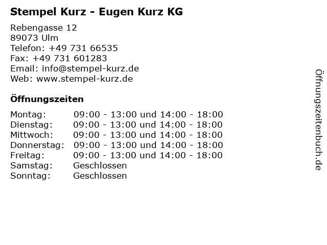 Stempel Kurz - Eugen Kurz KG in Ulm: Adresse und Öffnungszeiten