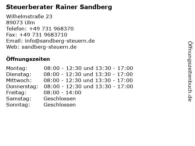 Steuerberater Rainer Sandberg in Ulm: Adresse und Öffnungszeiten