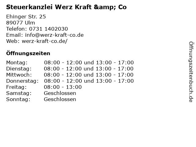Steuerkanzlei Werz Kraft & Co in Ulm: Adresse und Öffnungszeiten