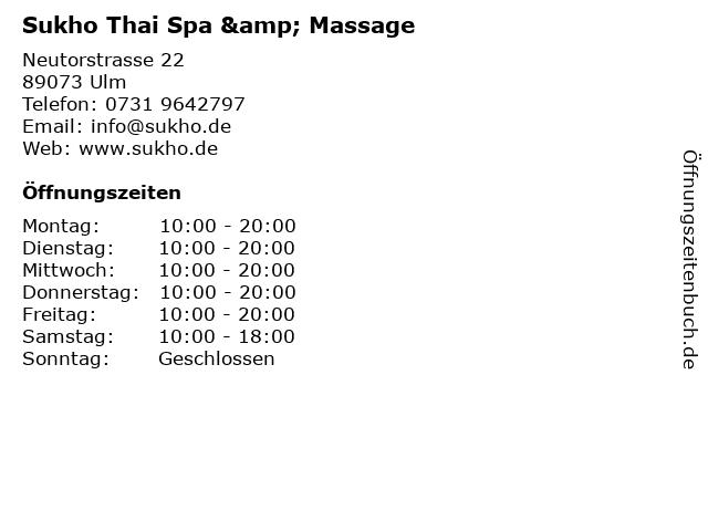 Sukho Thai Spa & Massage in Ulm: Adresse und Öffnungszeiten
