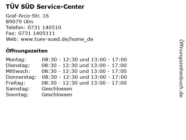 TÜV SÜD Service-Center in Ulm: Adresse und Öffnungszeiten