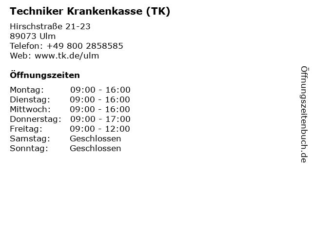 Techniker Krankenkasse (TK) in Ulm: Adresse und Öffnungszeiten