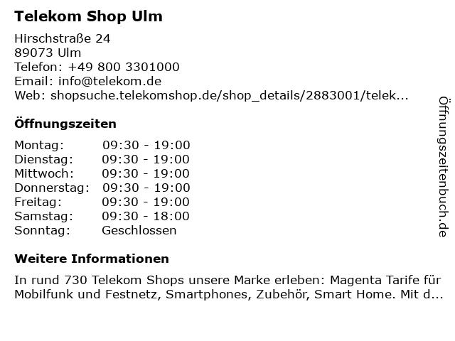 Telekom Shop Ulm in Ulm: Adresse und Öffnungszeiten