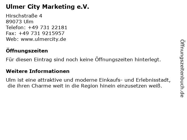 Ulmer City Marketing e.V. in Ulm: Adresse und Öffnungszeiten