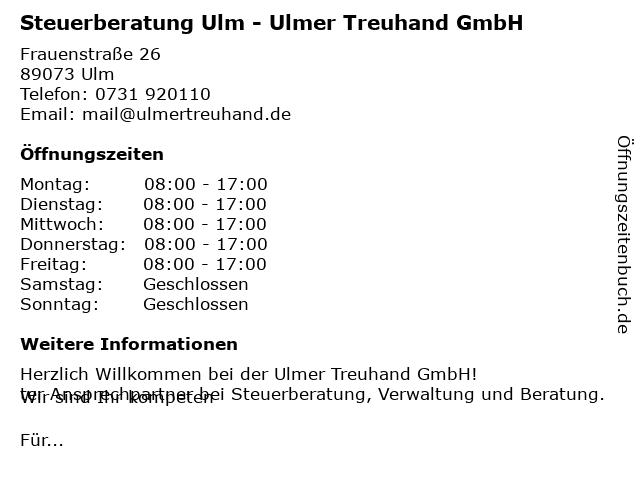 Ulmer Treuhand GmbH Steuerberatungsgesellschaft in Ulm: Adresse und Öffnungszeiten