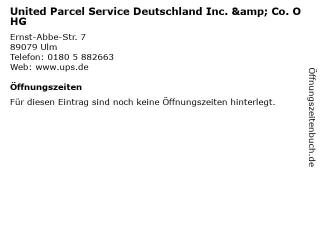 United Parcel Service Deutschland Inc. & Co. OHG in Ulm: Adresse und Öffnungszeiten