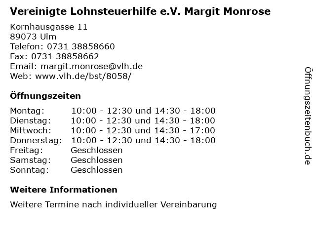Vereinigte Lohnsteuerhilfe e.V. Margit Monrose in Ulm: Adresse und Öffnungszeiten