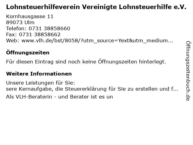 Vereinigte Lohnsteuerhilfe in Ulm: Adresse und Öffnungszeiten