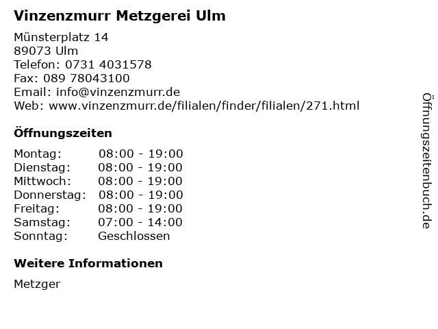 Vinzenzmurr Metzgerei Ulm in Ulm: Adresse und Öffnungszeiten