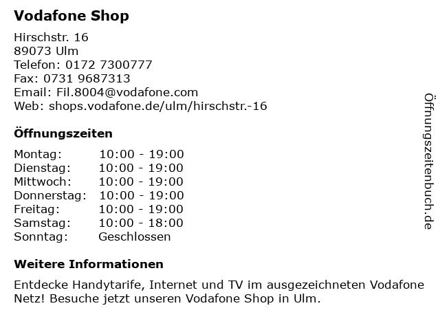 Vodafone Shop in Ulm: Adresse und Öffnungszeiten