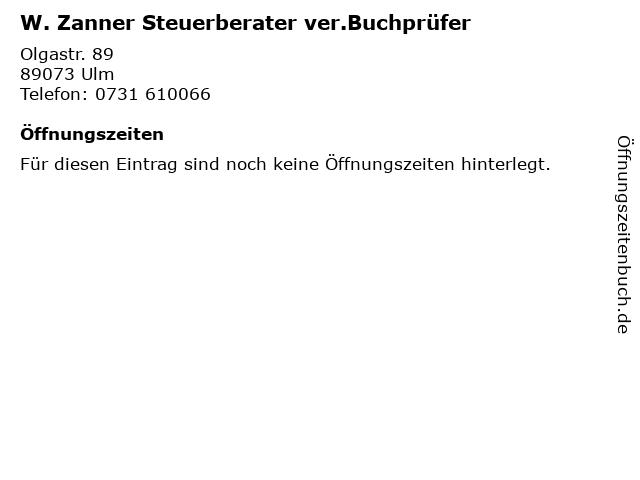 W. Zanner Steuerberater ver.Buchprüfer in Ulm: Adresse und Öffnungszeiten