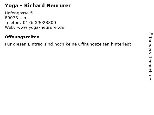 Yoga - Richard Neururer in Ulm: Adresse und Öffnungszeiten