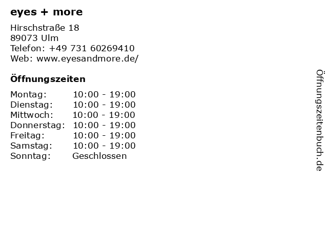 EYES in Ulm: Adresse und Öffnungszeiten
