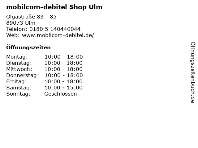 mobilcom-debitel Shop Ulm in Ulm: Adresse und Öffnungszeiten