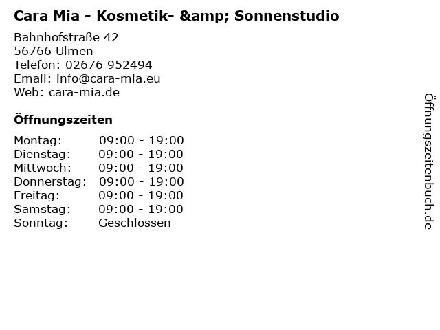 Cara Mia - Kosmetik- & Sonnenstudio in Ulmen: Adresse und Öffnungszeiten