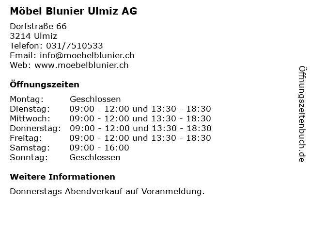 Möbel Blunier Ulmiz AG in Ulmiz: Adresse und Öffnungszeiten
