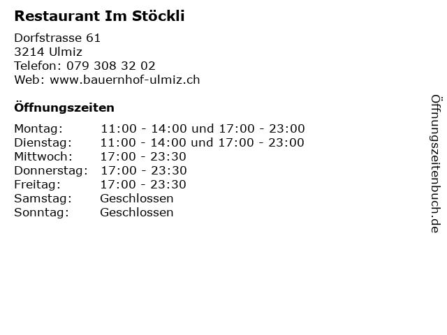 Restaurant Im Stöckli in Ulmiz: Adresse und Öffnungszeiten