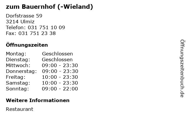 zum Bauernhof (-Wieland) in Ulmiz: Adresse und Öffnungszeiten