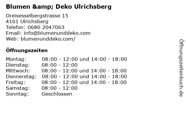 Blumen & Deko Ulrichsberg in Ulrichsberg: Adresse und Öffnungszeiten