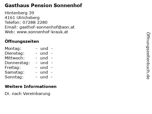 Gasthaus Pension Sonnenhof in Ulrichsberg: Adresse und Öffnungszeiten