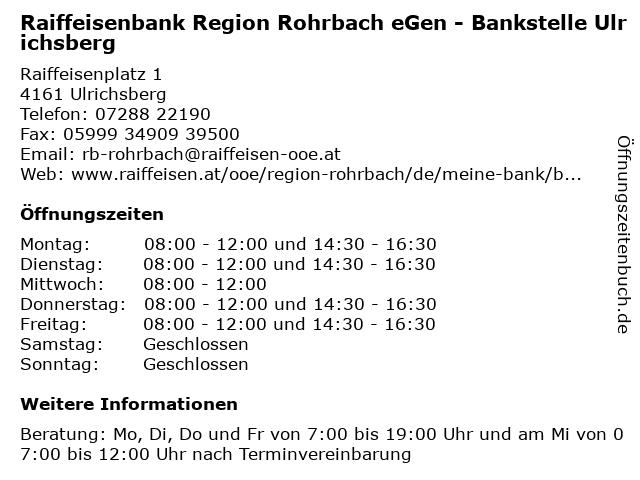 Raiffeisenbank Region Rohrbach eGen - Bankstelle Ulrichsberg in Ulrichsberg: Adresse und Öffnungszeiten