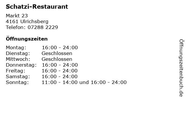 Schatzi-Restaurant in Ulrichsberg: Adresse und Öffnungszeiten