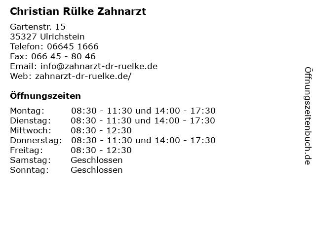 Christian Rülke Zahnarzt in Ulrichstein: Adresse und Öffnungszeiten