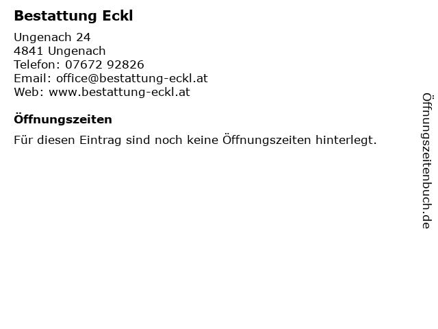 Bestattung Eckl in Ungenach: Adresse und Öffnungszeiten