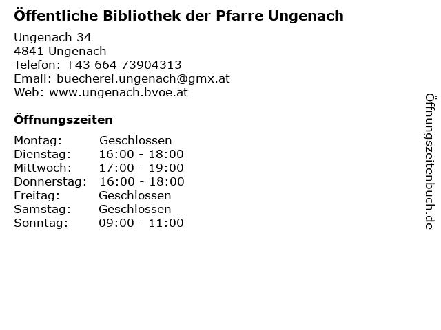 Öffentliche Bibliothek der Pfarre Ungenach in Ungenach: Adresse und Öffnungszeiten